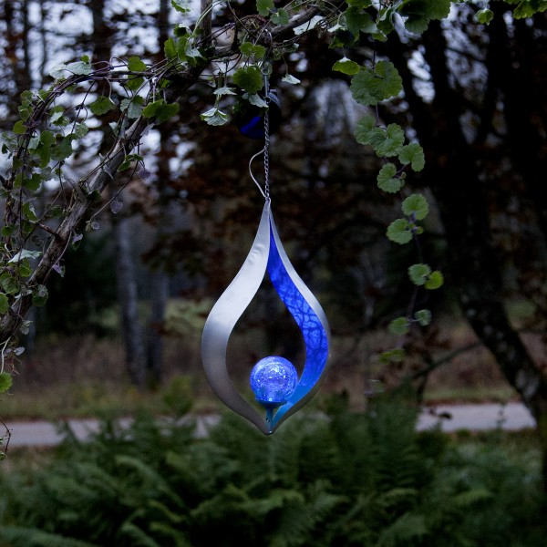 LED Solar Dekoleuchte MELILLA - blaue Kugel - zum Hängen - Lichtsensor - H: 31cm B: 18cm
