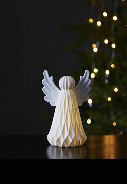 """LED-Tischdeko """"Vinter"""" - Engel - 1 warmweiße LED - Keramik - H: 19cm - Batteriebetrieb - weiß"""