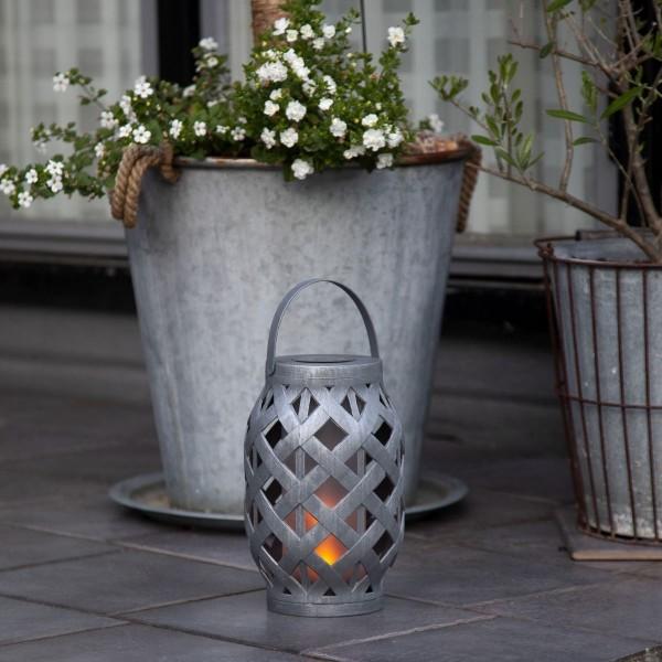 LED Solar Laterne FLAME - LED mit bewegtem Feuereffekt - H: 23cm - Dämmerungssensor - anthrazit
