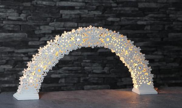 "LED-Fensterleuchter - Lichterbogen ""Snowflake"" - 11 warmweiße LED - H: 26,5cm, L: 57cm - Holz - weiß"