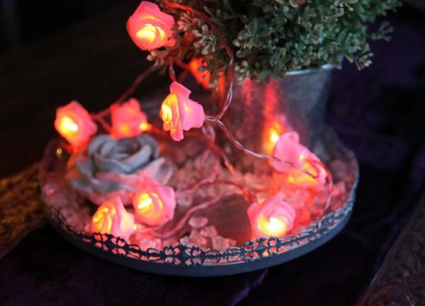 LED-Lichterkette - Basket Line Indoor - Batteriebetrieb - Timer - 2,60m - 15x Warmweiß - rosa Rose