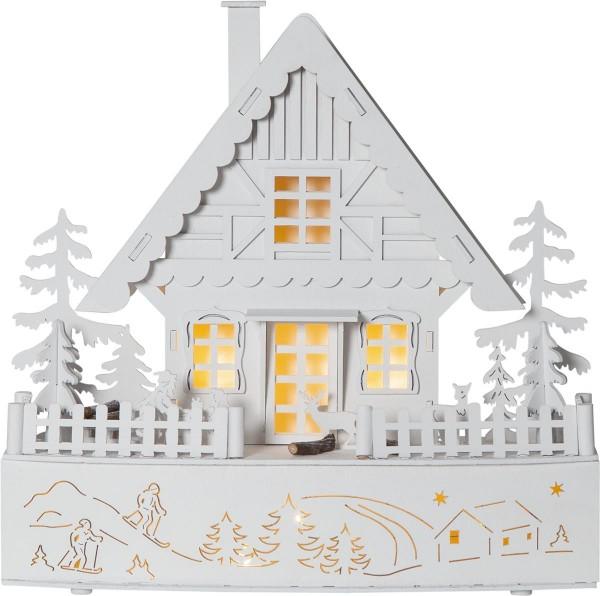 "LED-Leuchthaus ""Trier"" 8 warmwhite LED, batteriebetrieben, Motiv: weißes Haus, ca. 28 x 30 cm, Vierfarb-Karton"