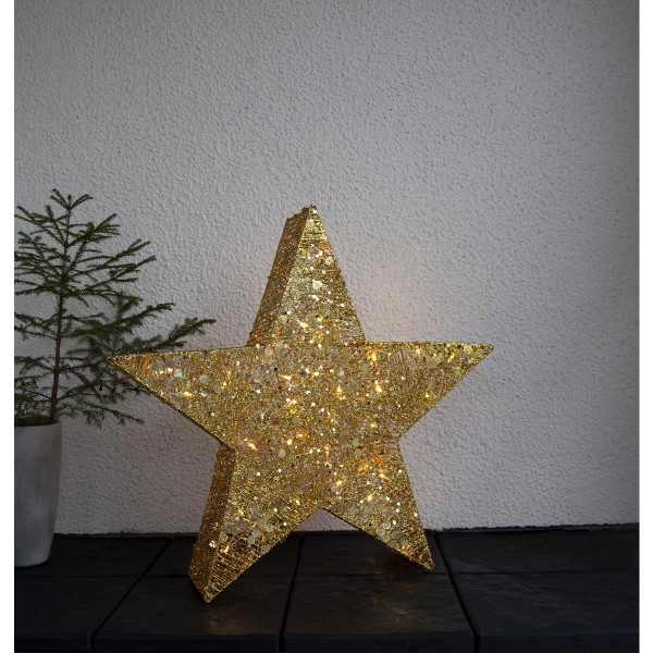 "LED-Stern mit Pailletten ""Sequini"" - 40 warmweiße LEDs - H: 70cm - goldene Pailletten - outdoor"