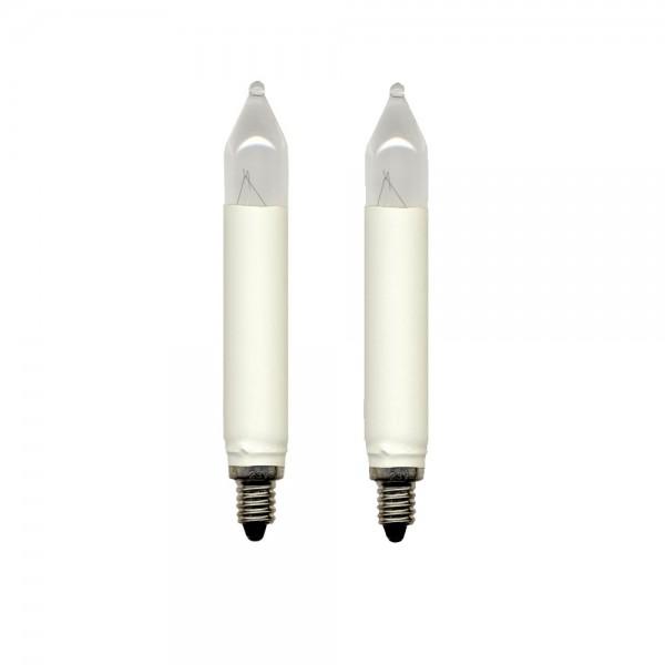 Schaft-Leuchtmittel | Ersatz für 16er Schaft-Kerzenkette | E10 | 16V | 3W | Warmweiß | 2er Set