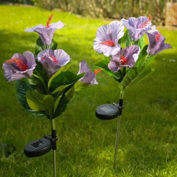 LED Solar Gartenstecker HIBISKUS - warmweiße LED - H: 73cm - Lichtsensor - lila - 2er Set