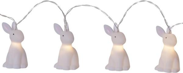 """LED-Lichterkette """"Bunny"""" - 10 weiße Häschen mit warmweißen LEDs - 1,35m - Batterie - Timer"""