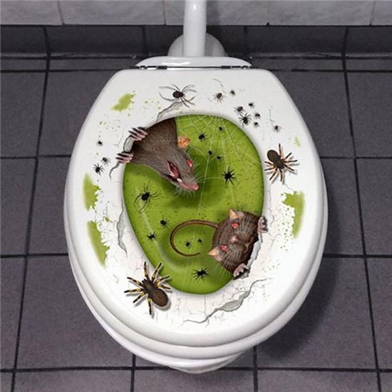 Halloween Toilettensitz Sticker - ca. 60x30cm - grüner Schleim, Spinnen, Ratten - rückstandsfrei