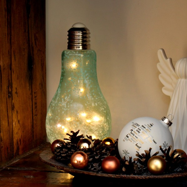 LED Glühbirne mit Lichterkette zum Stellen - H: 22cm, D: 11cm - Batteriebetrieb - eisblau gefrostet