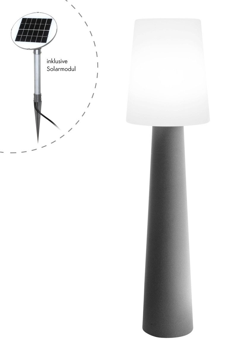 Outdoor XL Stehlampe No- 1 Grau H:160cm - Solar LED warmweiss - Aussenleuchte IP44