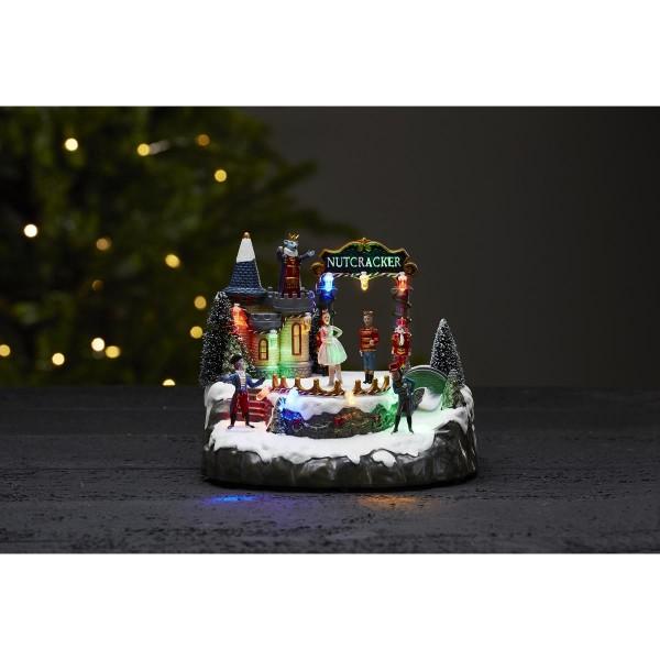 "LED-Weihnachtszene ""Nutcracker"" - 10 bunte LEDs - ↑20cm"