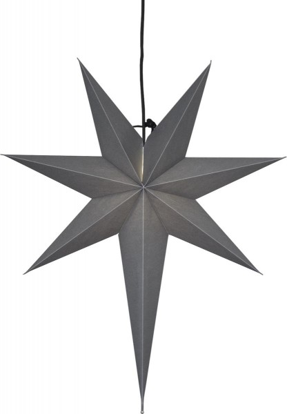 "Papierstern ""Ozen"" ca. 55x65 cm, E14 Fassung Farbe: grau ohne Lochung, 3,5 m Zuleitung, schwarz, Vierfarb-Karton"
