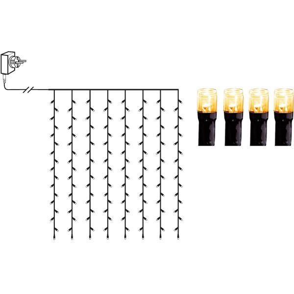 LED Lichtvorhang - Serie LED - outdoor - 80 ultra warmweiße LED - L: 1,3m, H: 1,3m - schwarzes Kabel