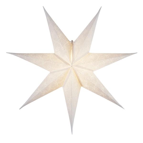 Papierstern Decorus - hängend - 7-zackig - D: 63cm - weiß