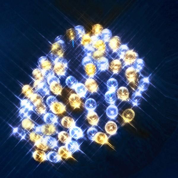 LED Lichterkette - Serie LED - 40 warm- kaltweiße LED Mix - L: 4m - schwarzes Kabel - für Außen