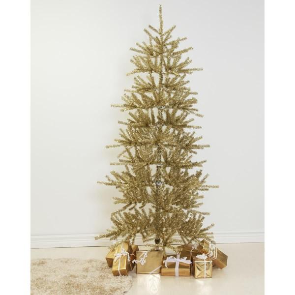 """Weihnachtsbaum """"Sparkle"""" - H: 210cm, D: 113cm - Farbe: gold glitzernd - mit Metallfuss - outdoor"""