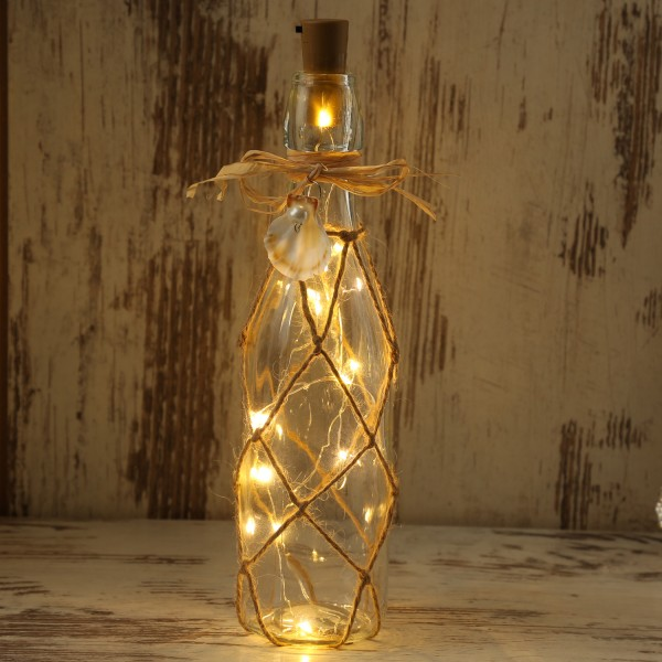LED Dekoflasche MARITIM mit Juteseil - 10 warmweiße LED an Drahtlichterkette - H: 28cm - transparent