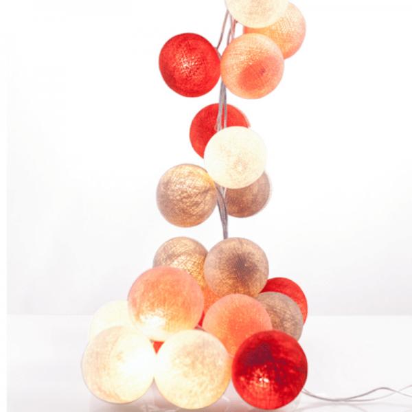 good moods* ROSIGE ZEITEN - Ball-Lichterkette mit 35 Stoffkugeln - 35 warmweiße LEDs -Geschenkkarton