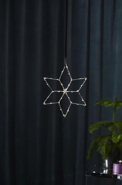 "Metallstern ""Lolly - 36 LED - Farbe: silber - H: 28cm, B: 28cm"