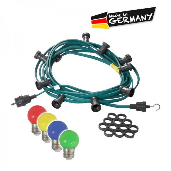 Illu-/Partylichterkette | E27-Fassungen | Made in Germany | mit farbigen, matten LED-Lampen | 5m | 5x E27-Fassungen