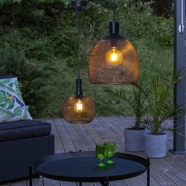 LED Solar Lampe Sunlight - warmweiße LED - H: 24cm, D: 19cm - hängend - schwarz