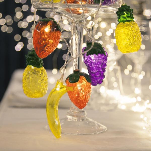 "LED Lichterkette ""Tutti Frutti"" - 10 bunte Früchte - warmweiße LED - L: 1,8m - Batterie - Timer"