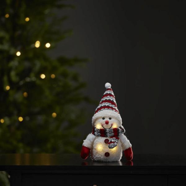 LED Stoff-Figur Schneemann - rote Mütze & Schal - 4 warmweiße LED - H: 25cm - Batteriebetrieb