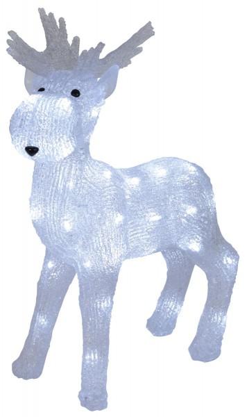 """LED-Acrylrentier """"Crystal Moose"""" - 40 kaltweiße LED - stehend - H: 48 cm - outdoor"""