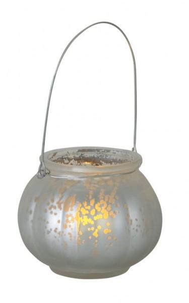LED-Windlicht 2er Set | Kunststoff | Jara-Design | flackernde LED | →10cm | ↑8.5cm | Silber