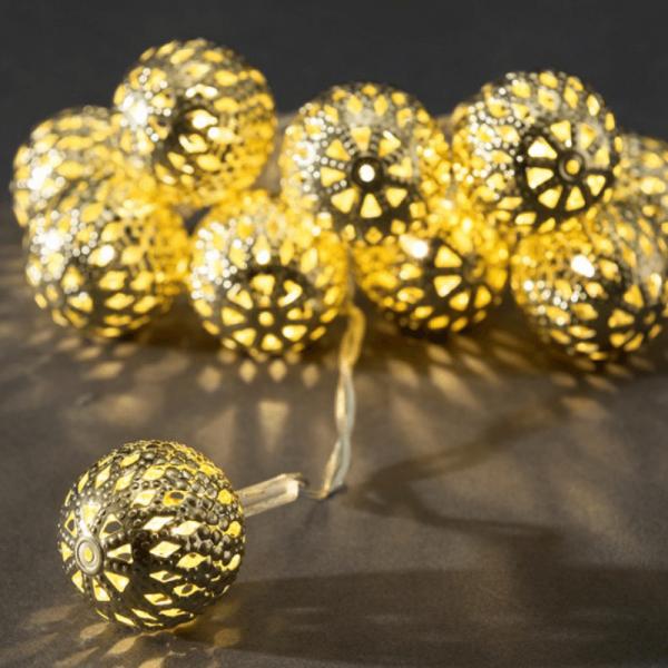 LED-Dekolichterkette - 0,9m - 10x Warmweiß - Ø 2,5cm - Gold - transparentes Kabel - Batteriebetrieb