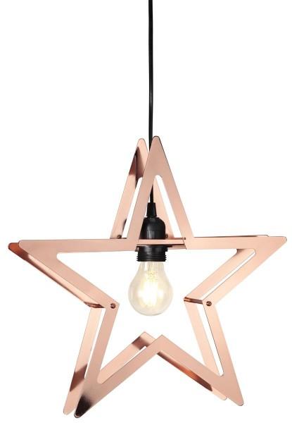 "LED-Dekoleuchte ""Starling"" ca. 36 x 38 cm, E27 Fassung, Material: Metall, kupferfarben schwarzes Kabel Vierfarb-Karton"