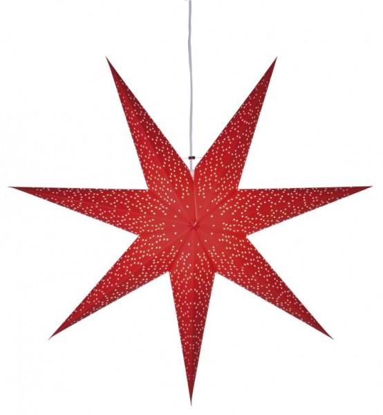 """Papierstern """"Dot"""" - hängend - 7-zackig - Ø 54cm - E14 Fassung - inkl. Kabel - rot"""
