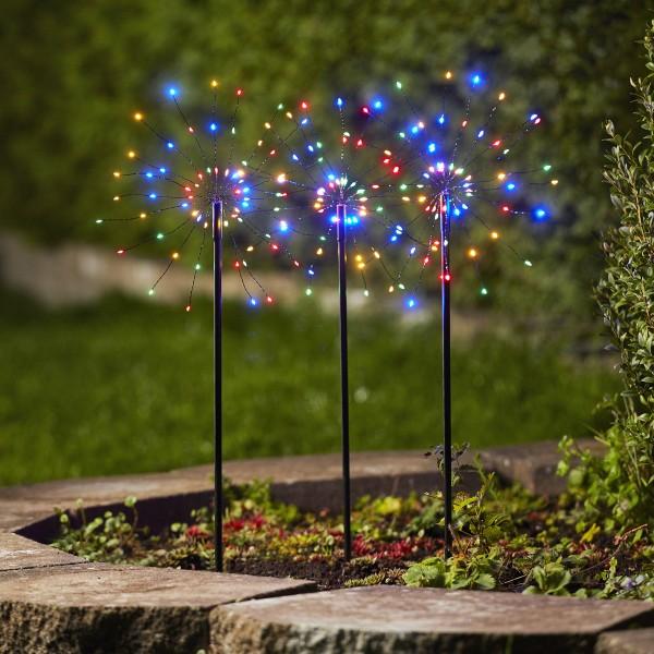 LED Dekostäbe FEUERWERK - H: 65cm - je 60 bunte LED - inkl. Trafo - outdoor - schwarz - 3er Set