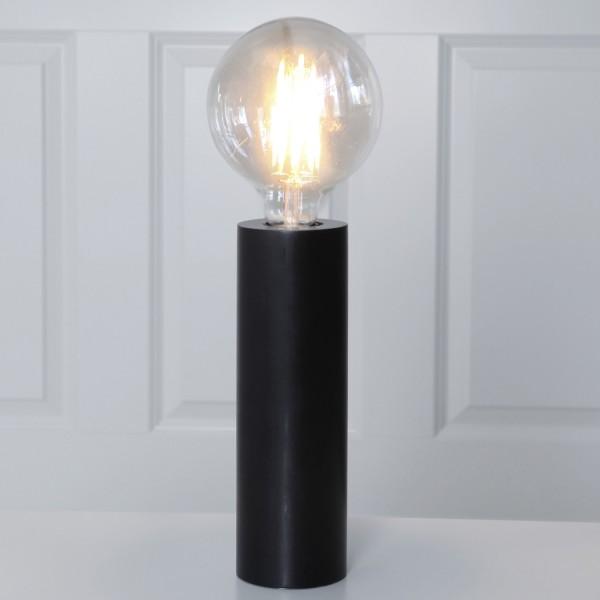 Lampenhalterung TUB - Tischleuchte - E27 - H: 25cm - stehend - Kabel mit Schalter - Holz - schwarz