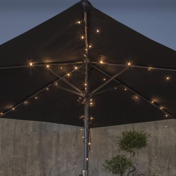 LED Lichterkette für Sonnenschirm - 8 Stränge - warmweiße LED - Batterie - Timer - outdoor