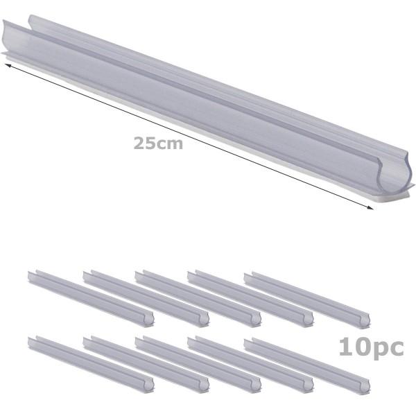 Befestigungsschiene für Lichtschlauch (12-13mm) - 10 STÜCK 25cm - Kunststoff, transparent