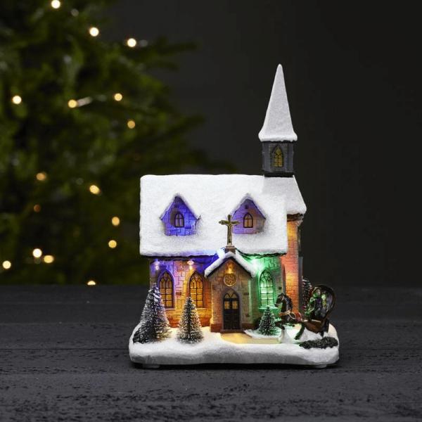 "LED-Kirche ""Chapel"" - 11 RGB LED - H: 27cm - Batteriebetrieb - Timer - bunt"