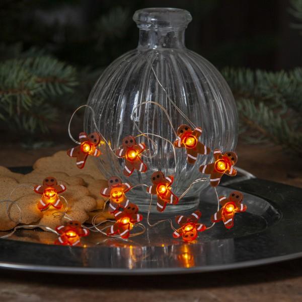 LED Lichterkette Lebkuchenmänner - 12 warmweiße Dew Drop LED -1,10m - Batterie - f. Innen - braun