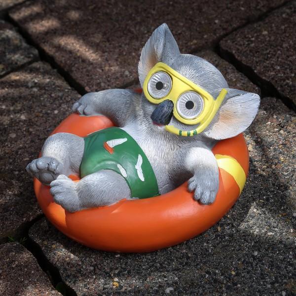 LED Solar Gartenfigur KOALA mit Taucherbrille - warmweiße LED - D: 16cm - mehrfarbig