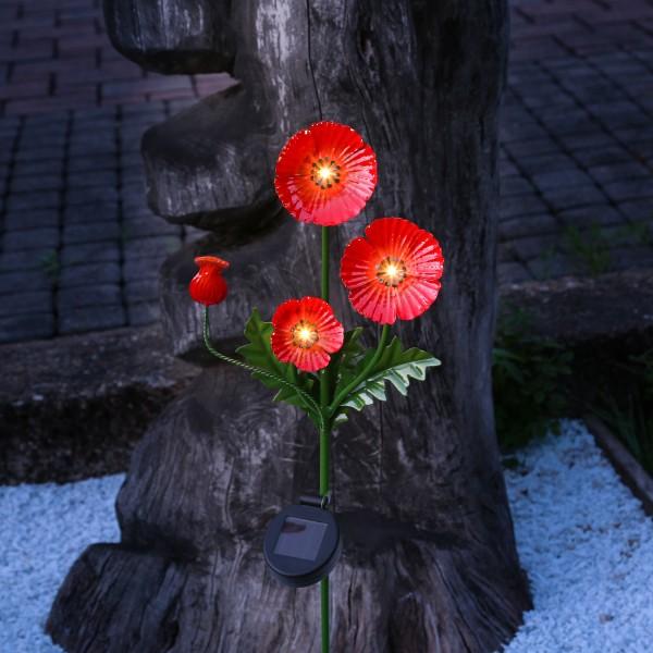 LED Solar Gartenstecker MOHN - Metall - 4 warmweiße LED - H: 80cm - Lichtsensor - rot