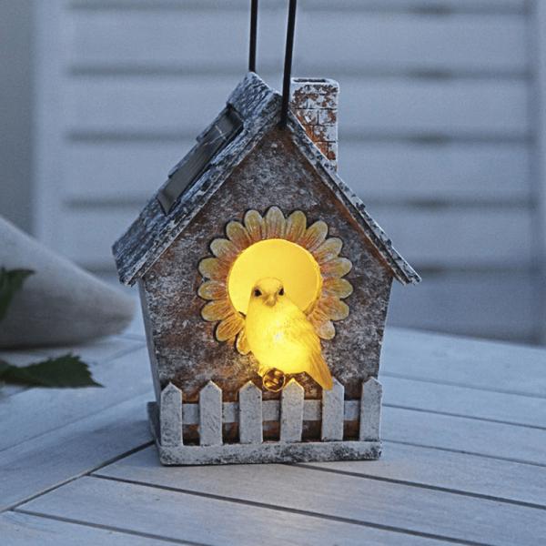 """LED Solar Deko """"Vogelhaus"""" - 2 warmweiße LED - H: 16cm - Dämmerungssensor - outdoor"""