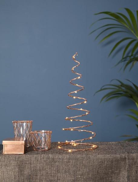 "LED-Dekoleuchte ""Dizzy"" - 25 warmweiße LED - kupferfarben - Material: Metall - H: 40cm, B: 15cm"