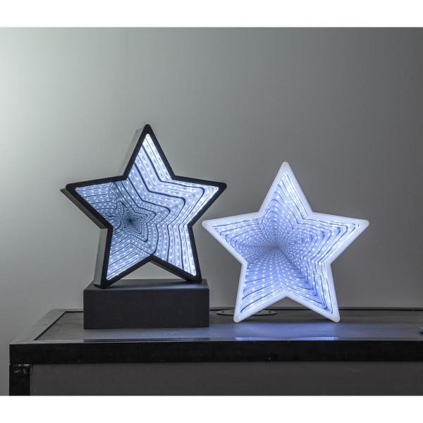 """LED-Leuchtstern """"Mirror"""" - 40 kaltweiße LED -  schwarz - Material: Kunststoff - H: 32cm"""