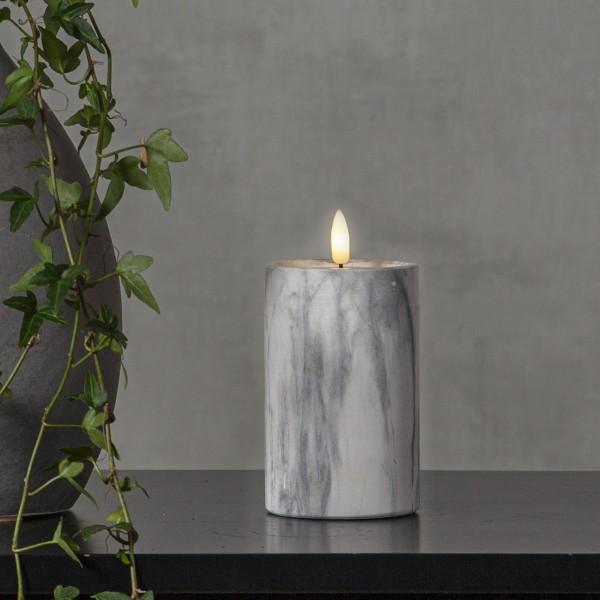 LED Stumpenkerze Flamme - Marmoroptik - Zement/Wachs - natürliche Flamme - Timer - H: 15cm - grau