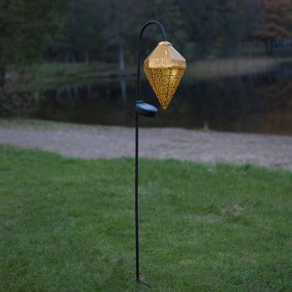 LED Solar Gartenstecker BOLILLA - gold - weiße LED - H: 80cm - Dämmerungssensor