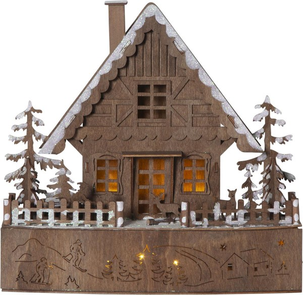 "LED-Leuchthaus ""Trier"" 8 warmwhite LED, batteriebetrieben, Motiv: braunes Haus, ca. 28 x 30 cm, Vierfarb-Karton"