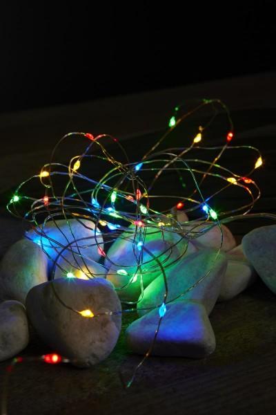 """LED-Draht-Lichterkette """"Splash"""" - 4m silberner Draht - mehrfarbige LEDs - Batterie - Timer"""