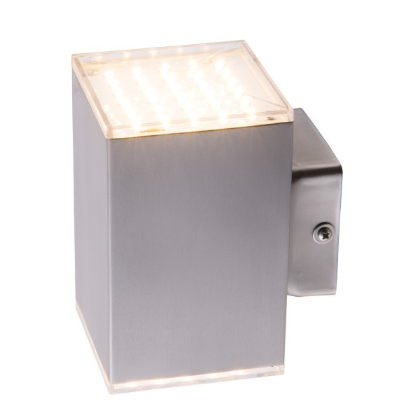 Wandleuchte KUBUS UO - 60 SMD LED - 3000K - 2x341 lm - 11W - IP44 - Edelstahl - Fassadenleuchte