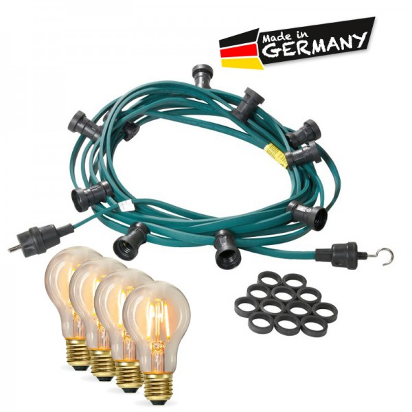 Illu-/Partylichterkette 30m | Außenlichterkette | Made in Germany | 50 x Edison LED Filamentlampen