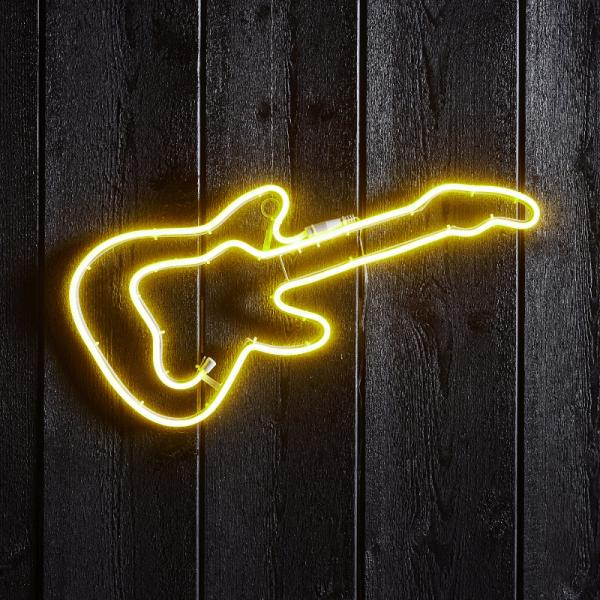"LED Silhouette ""Gitarre"" - Flatneon - 192 LED - H: 24cm - outdoor - gelb"
