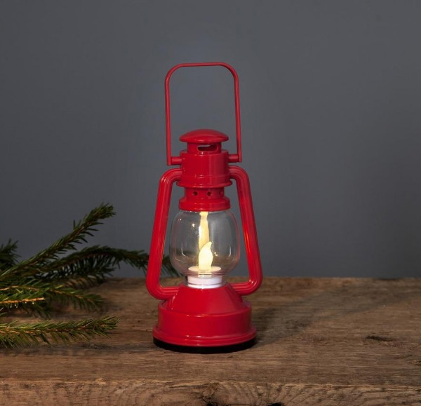 LED Laterne NIKO, rot - H: 15cm - D: 8,5cm - warmweiße LED - Schalter